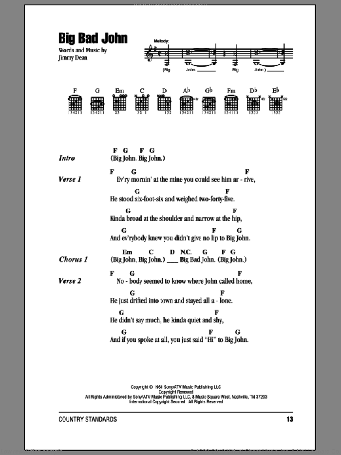 Big Bad John sheet music for guitar (chords) by Jimmy Dean, intermediate. Score Image Preview.