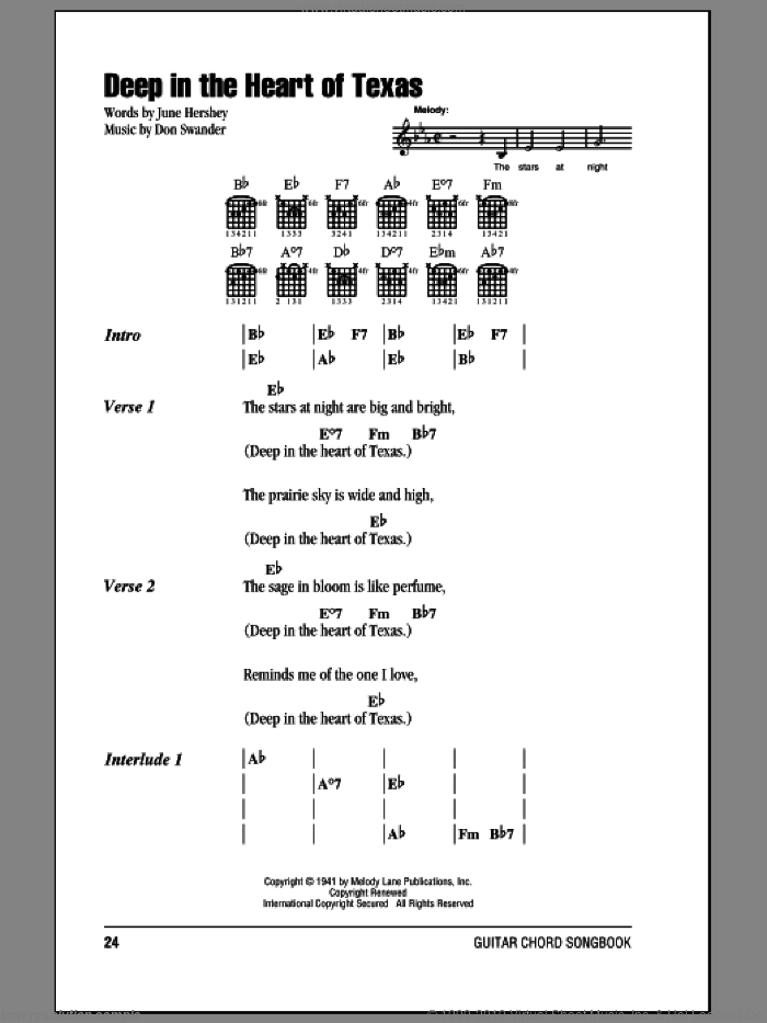 Deep In The Heart Of Texas sheet music for guitar (chords) by Alvino Rey & His Orchestra, Bing Crosby, Don Swander and June Hershey, intermediate skill level
