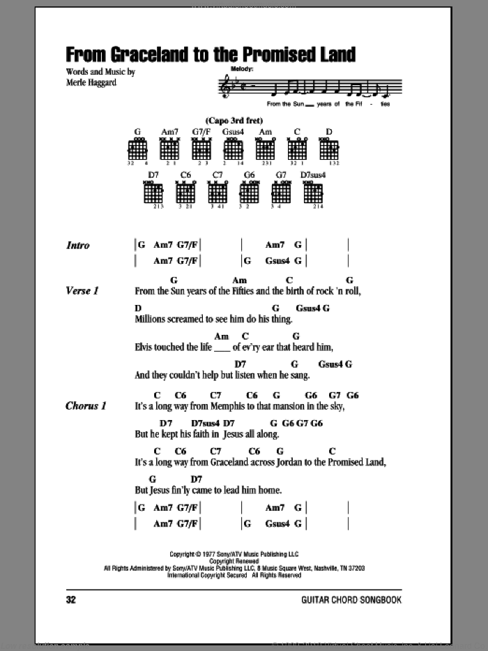 From Graceland To The Promised Land sheet music for guitar (chords) by Merle Haggard. Score Image Preview.