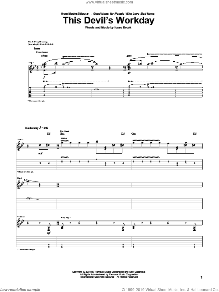 This Devil's Workday sheet music for guitar (tablature) by Modest Mouse and Isaac Brock, intermediate skill level