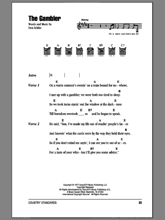 The Gambler sheet music for guitar (chords) by Kenny Rogers, intermediate. Score Image Preview.