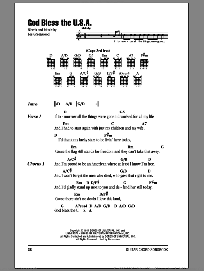 God Bless The U.S.A. sheet music for guitar (chords) by Lee Greenwood, intermediate skill level