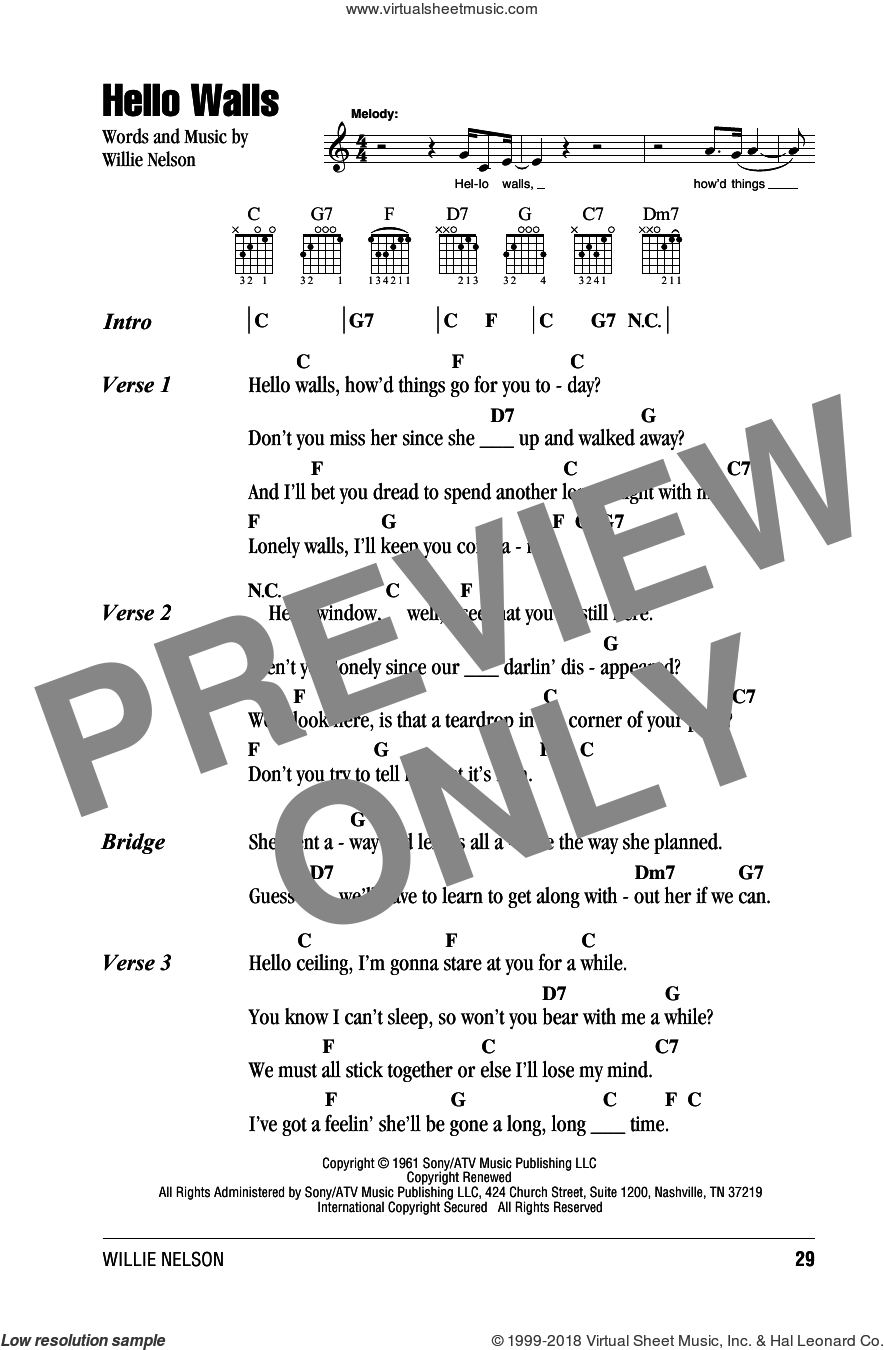 Hello Walls sheet music for guitar (chords) by Faron Young and Willie Nelson, intermediate. Score Image Preview.