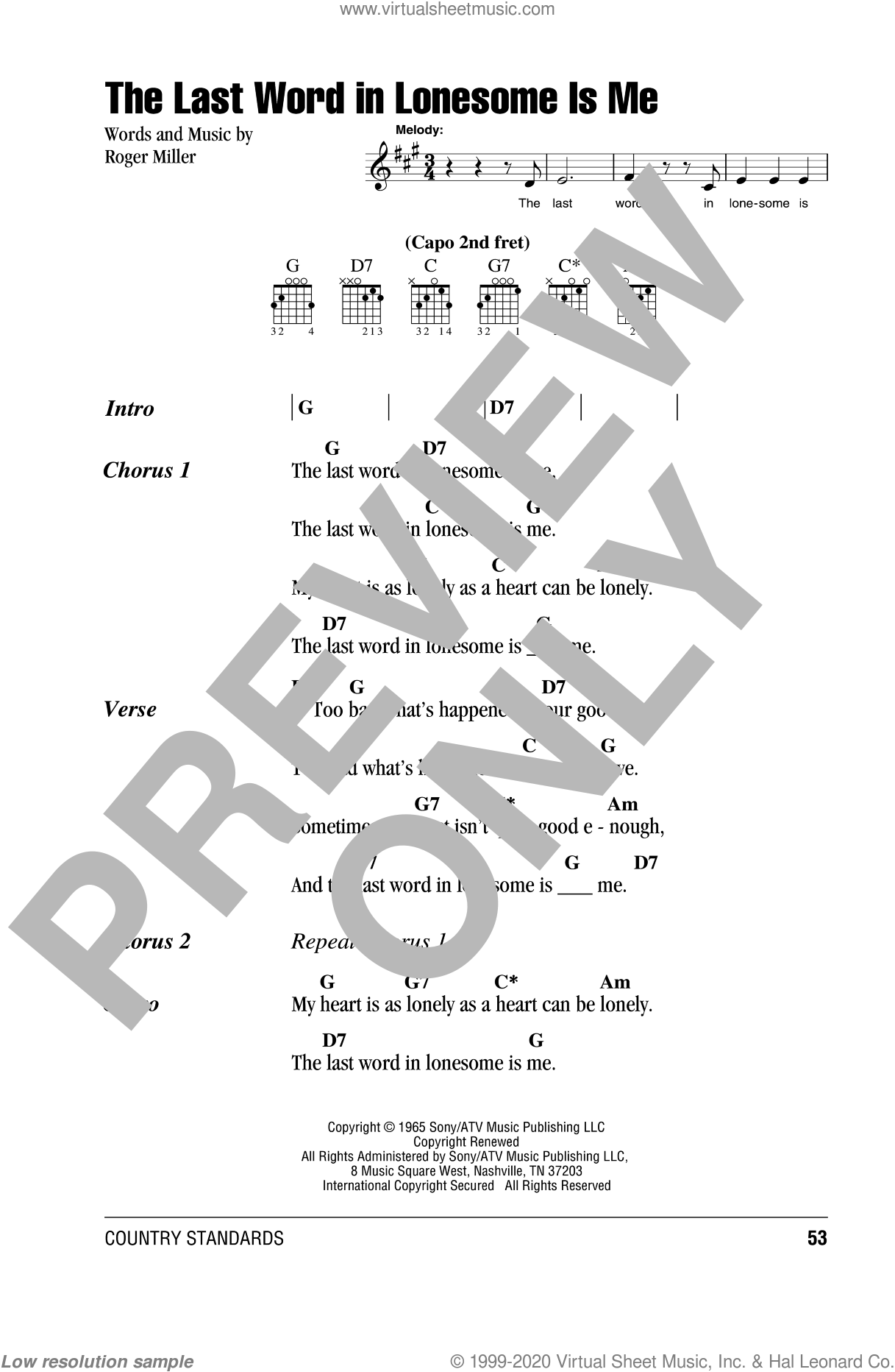 The Last Word In Lonesome Is Me sheet music for guitar (chords) by Eddy Arnold and Roger Miller, intermediate skill level