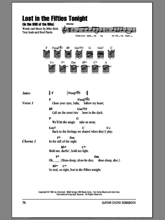 Lost In The Fifties Tonight (In The Still Of The Nite) sheet music for guitar (chords) by Ronnie Milsap, Mike Reid and Troy Seals. Score Image Preview.