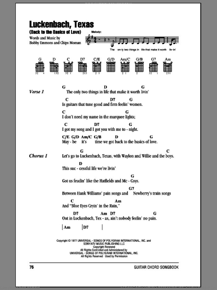 Luckenbach, Texas (Back To The Basics Of Love) sheet music for guitar (chords) by Waylon Jennings, intermediate guitar (chords). Score Image Preview.