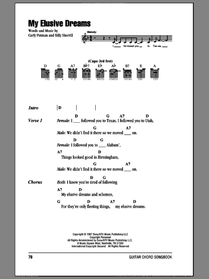 My Elusive Dreams sheet music for guitar (chords) by Curly Putman, Charlie Rich and Billy Sherrill. Score Image Preview.