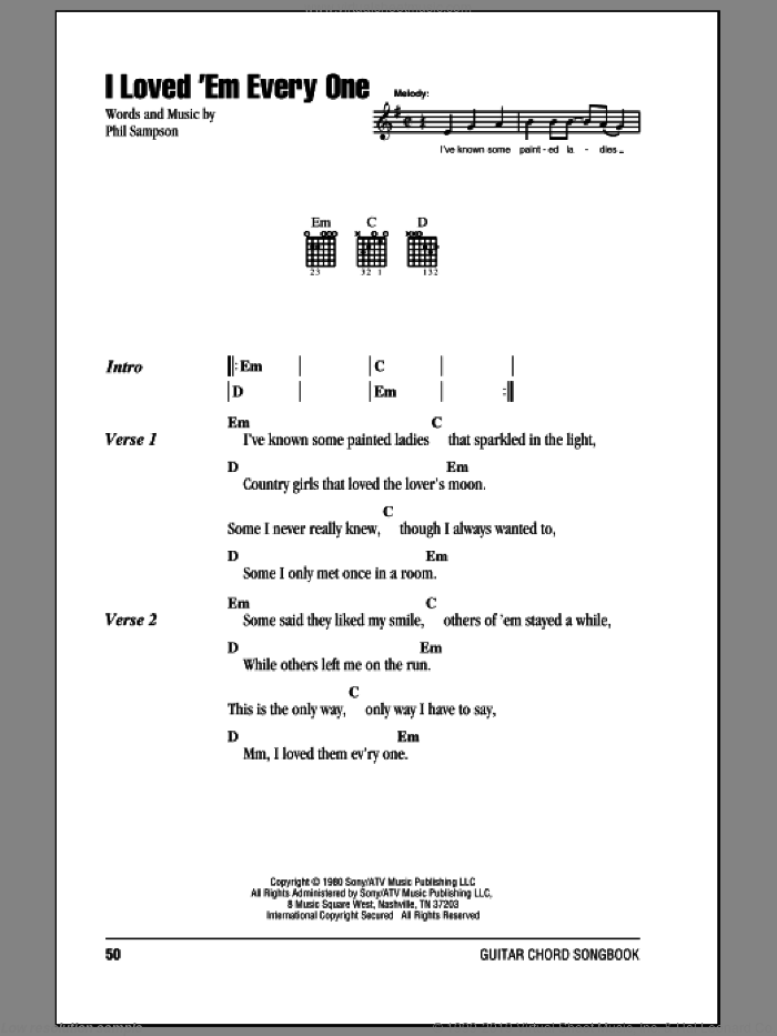 I Loved 'Em Every One sheet music for guitar (chords, lyrics, melody) by Phil Sampson