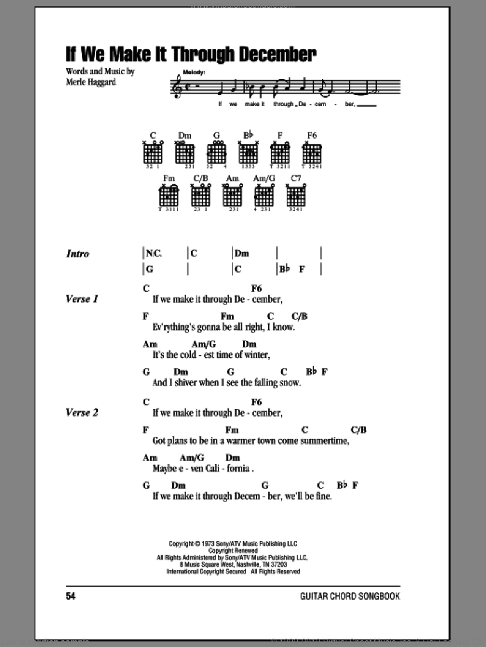 If We Make It Through December sheet music for guitar (chords) by Merle Haggard