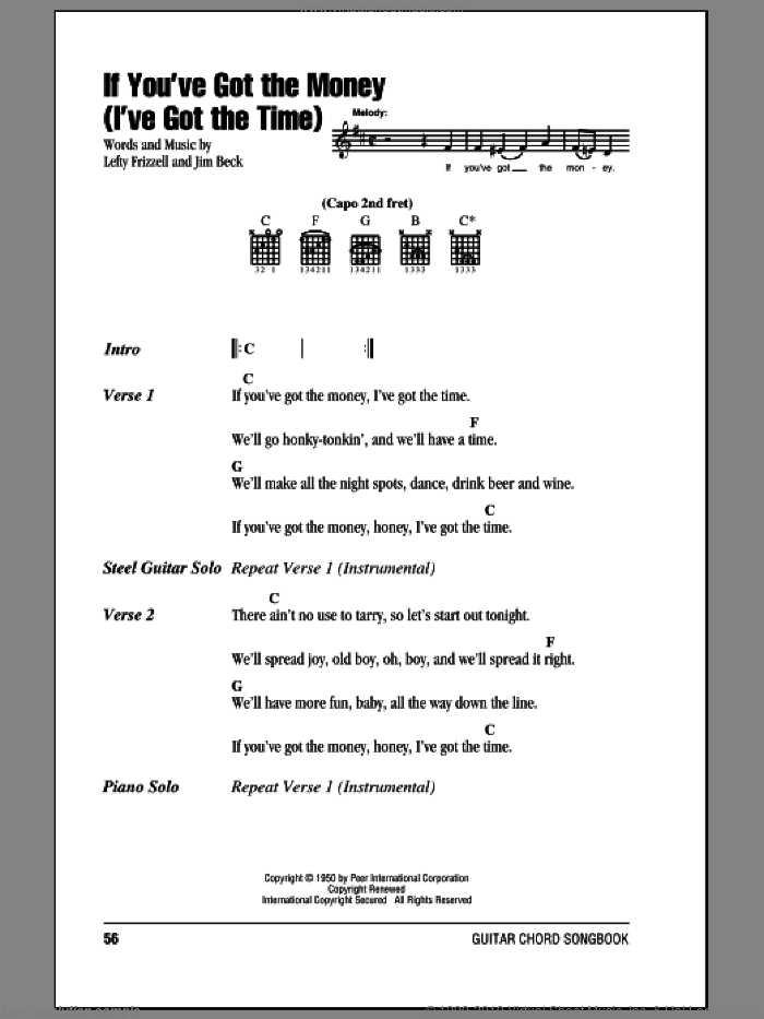 If You've Got The Money (I've Got The Time) sheet music for guitar (chords) by Lefty Frizzell, Willie Nelson and Jim Beck, intermediate skill level