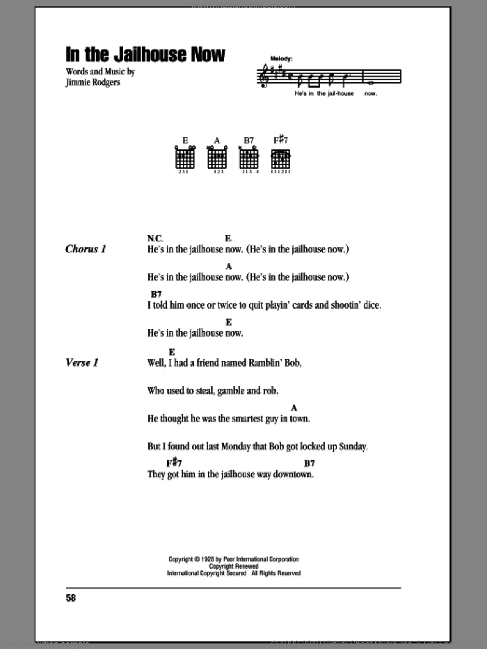 In The Jailhouse Now sheet music for guitar (chords) by Jimmie Rodgers. Score Image Preview.