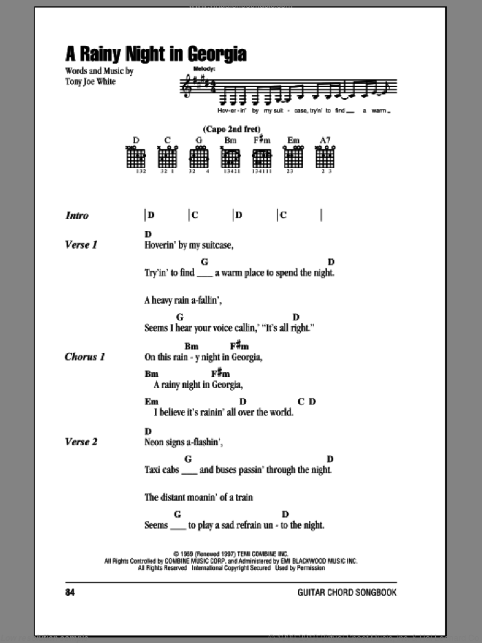 A Rainy Night In Georgia sheet music for guitar (chords, lyrics, melody) by Tony Joe White