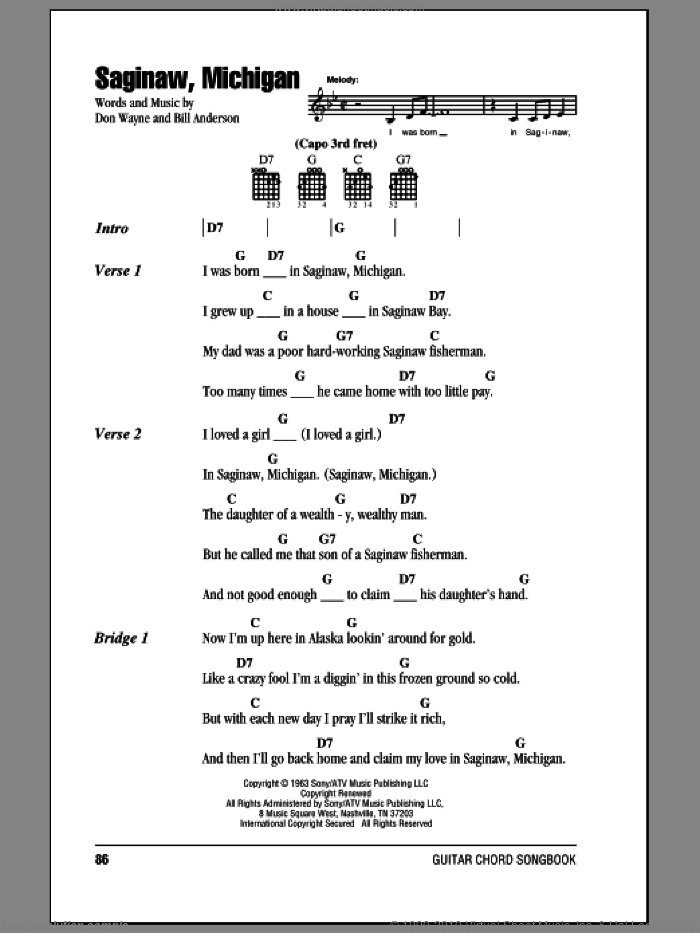 Saginaw, Michigan sheet music for guitar (chords) by Don Wayne, Lefty Frizzell and Bill Anderson. Score Image Preview.