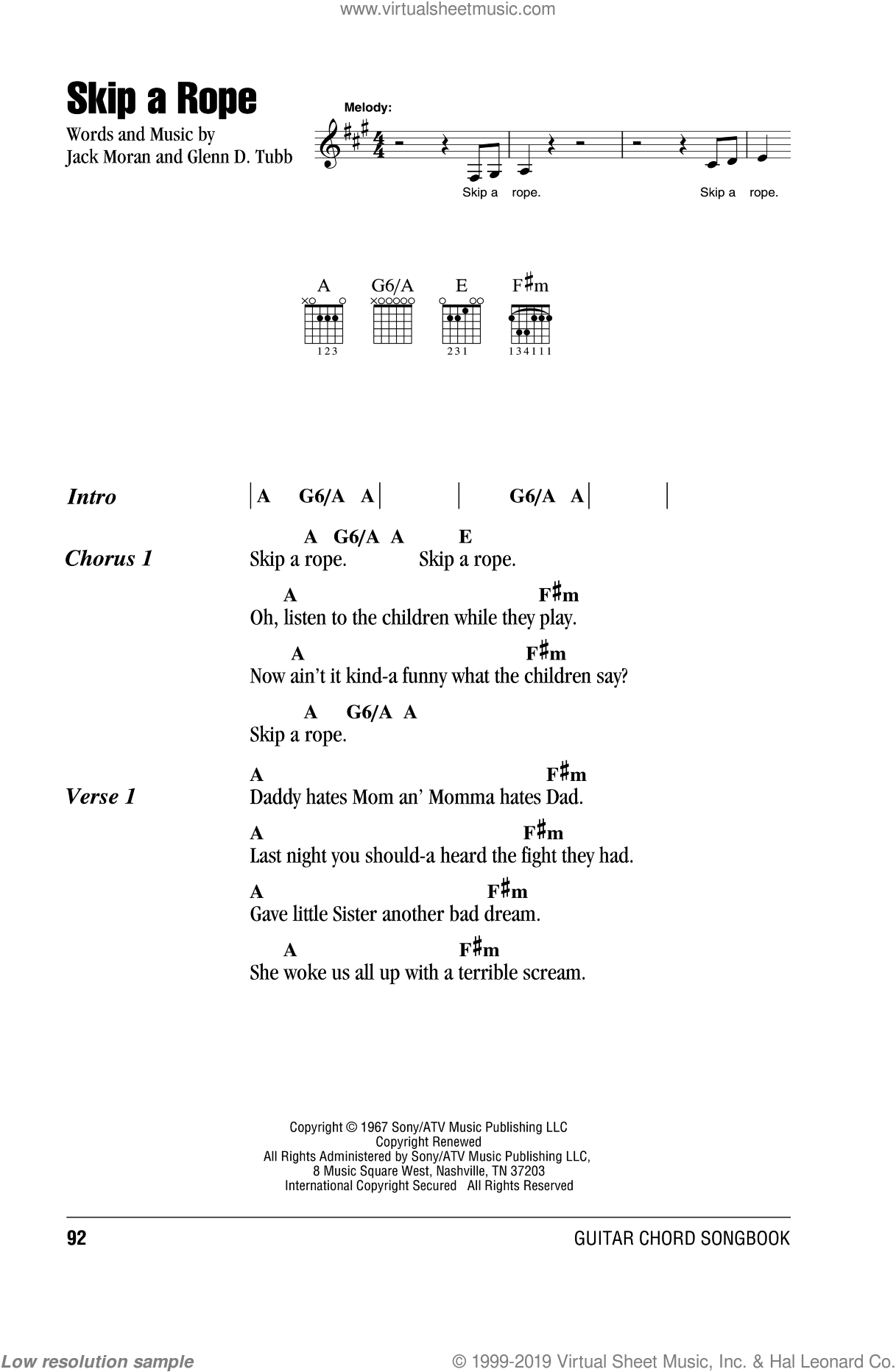 Skip A Rope sheet music for guitar (chords) by Henson Cargill, Glenn D. Tubb and Jack Moran, intermediate. Score Image Preview.