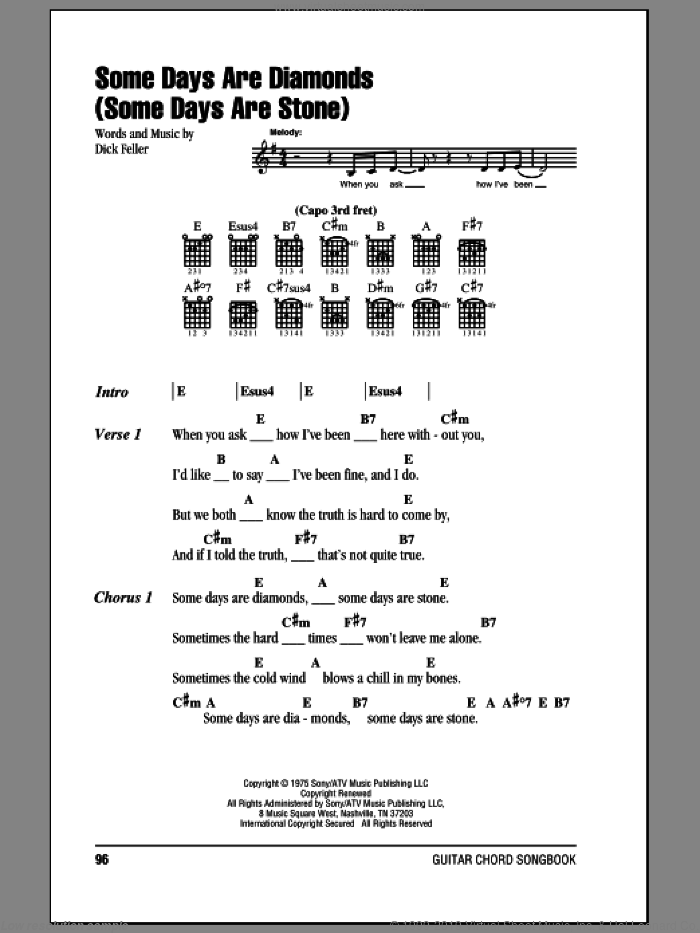 Some Days Are Diamonds (Some Days Are Stone) sheet music for guitar (chords) by John Denver, intermediate guitar (chords). Score Image Preview.