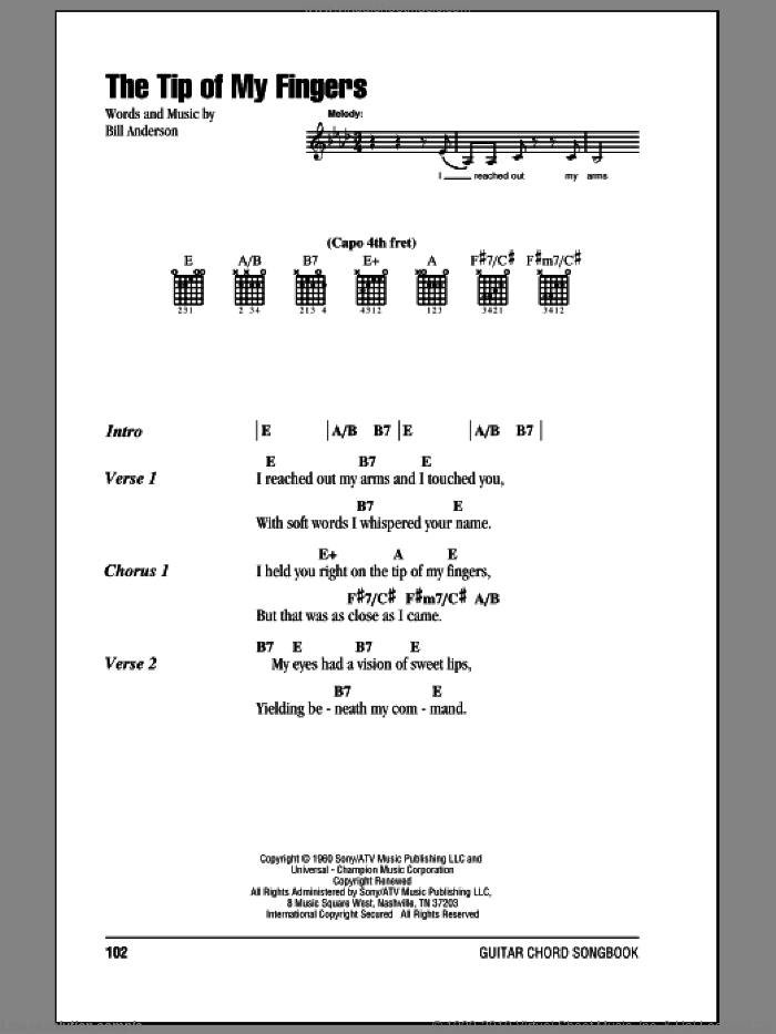 The Tip Of My Fingers sheet music for guitar (chords) by Bill Anderson and Eddy Arnold. Score Image Preview.