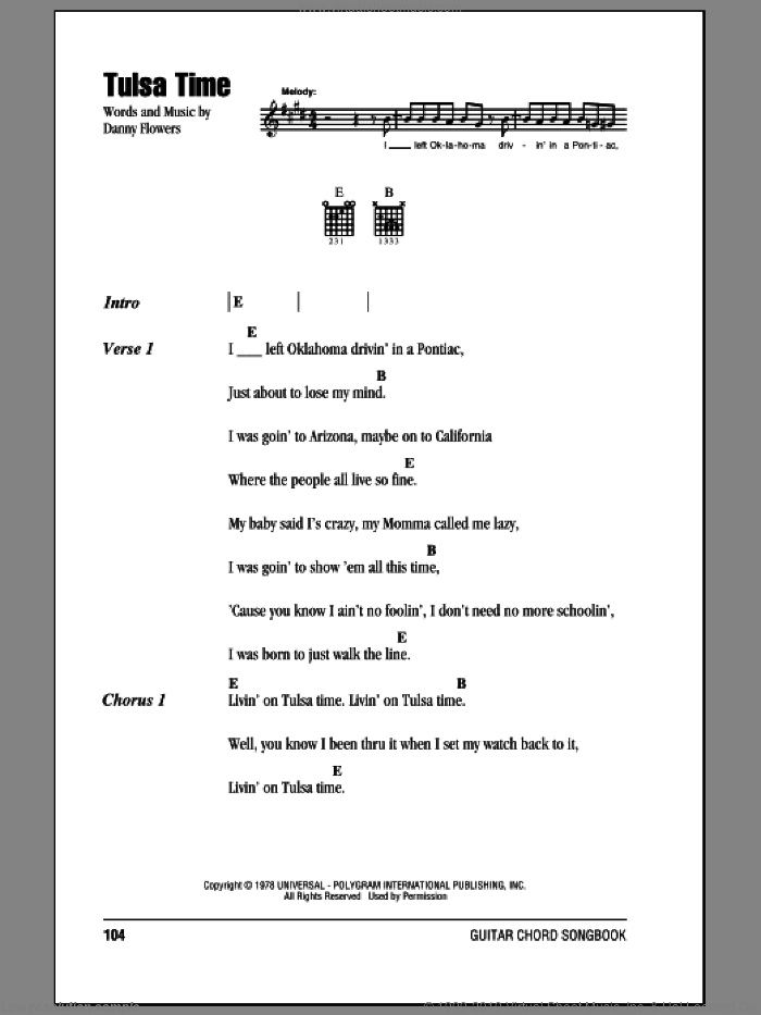 Tulsa Time sheet music for guitar (chords) by Danny Flowers, Don Williams and Eric Clapton. Score Image Preview.