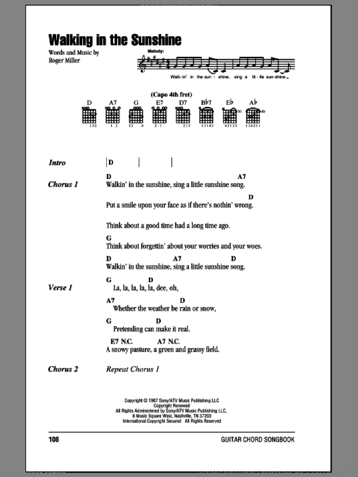 Walking In The Sunshine sheet music for guitar (chords) by Roger Miller. Score Image Preview.