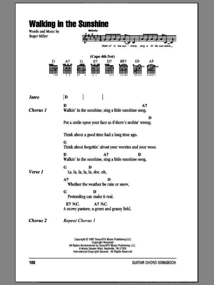 Walking In The Sunshine sheet music for guitar (chords) by Roger Miller, intermediate skill level
