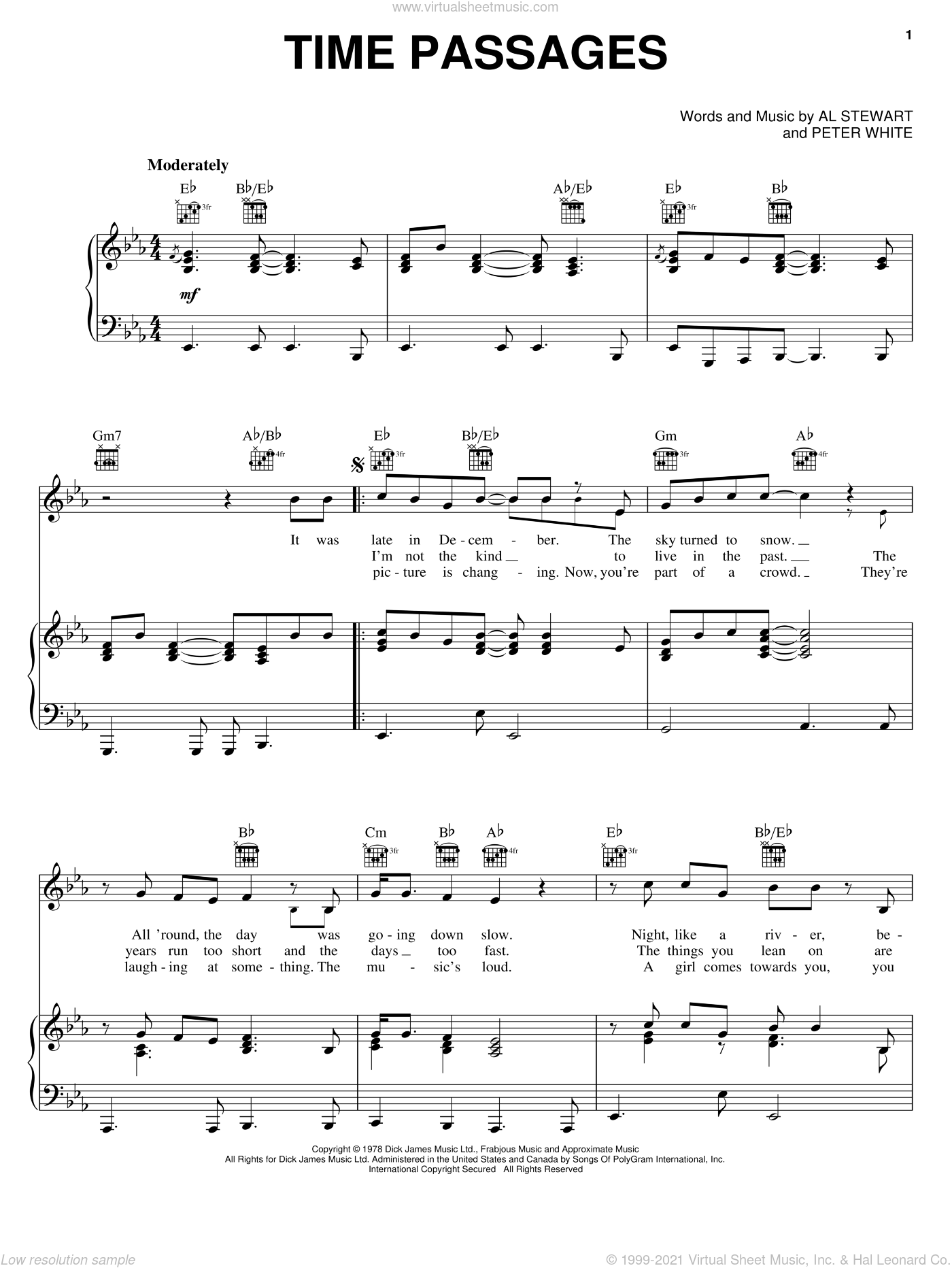 Time Passages sheet music for voice, piano or guitar by Al Stewart and Peter White, intermediate skill level