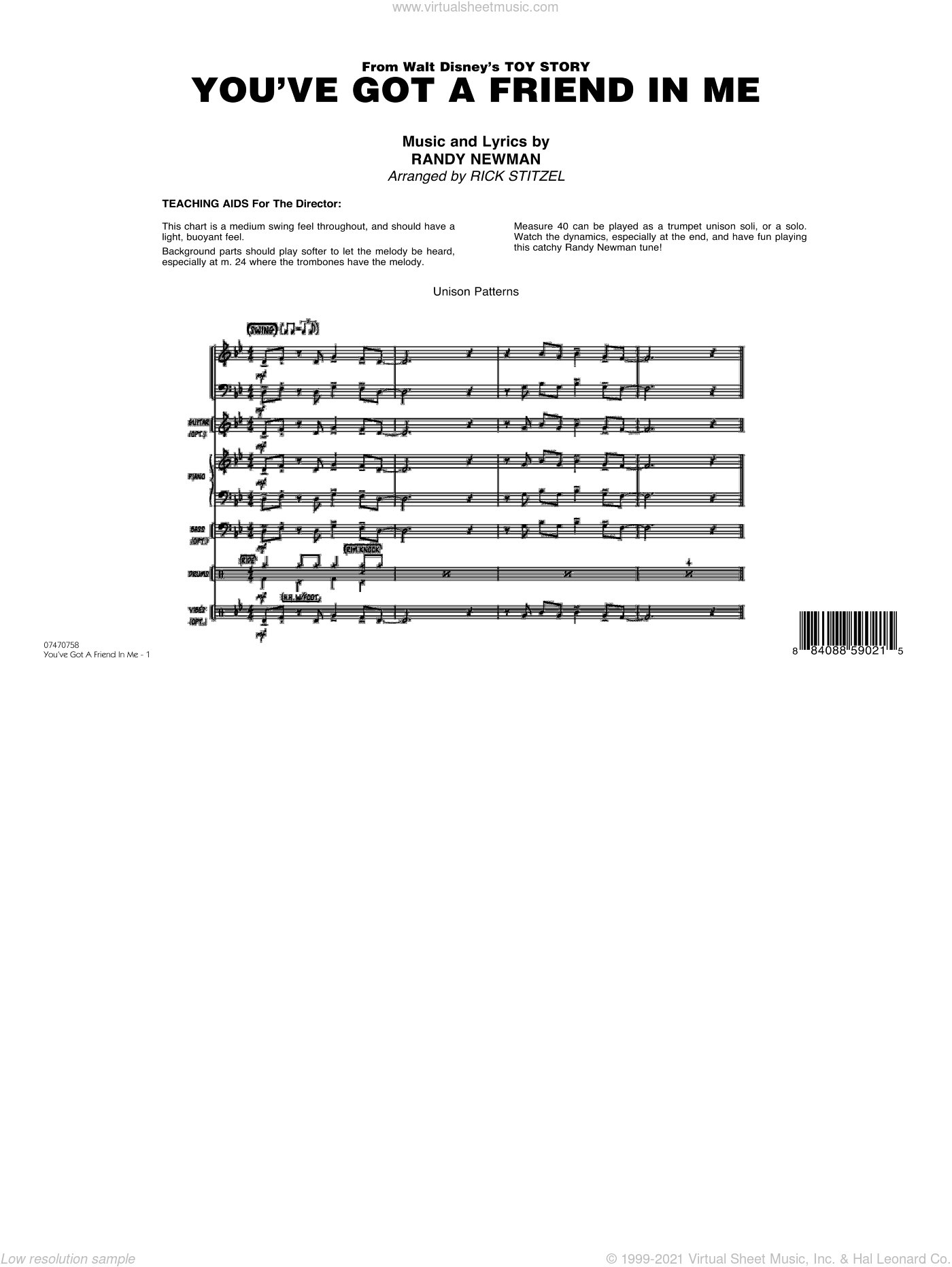 You've Got A Friend In Me sheet music for jazz band (full score) by Randy Newman