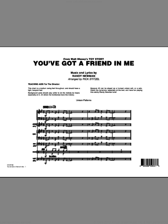 You've Got A Friend In Me (Wheezy's Version) (from Toy Story 2) (arr. Rick Stitzel) (COMPLETE) sheet music for jazz band by Randy Newman and Rick Stitzel, intermediate skill level