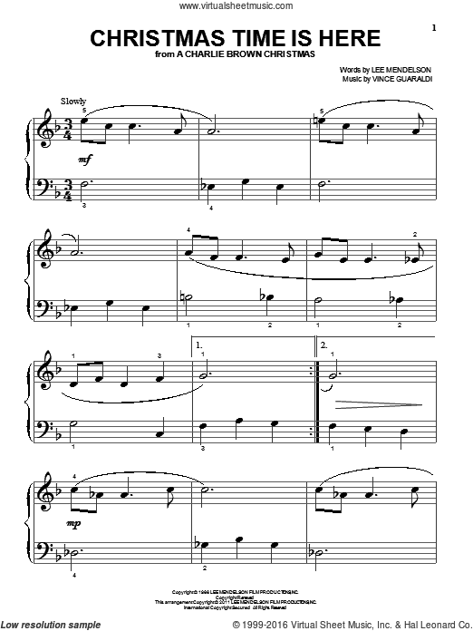 Christmas Time Is Here sheet music for piano solo (big note book) by Lee Mendelson and Vince Guaraldi. Score Image Preview.