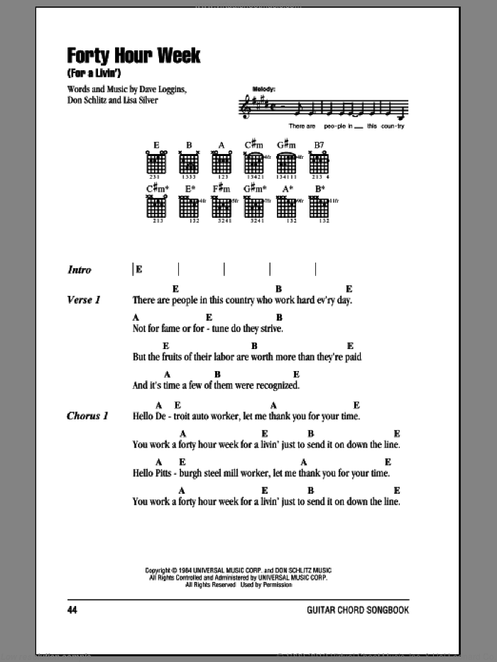 Forty Hour Week (For A Livin') sheet music for guitar (chords) by Alabama, Dave Loggins, Don Schlitz and Lisa Silver, intermediate guitar (chords). Score Image Preview.