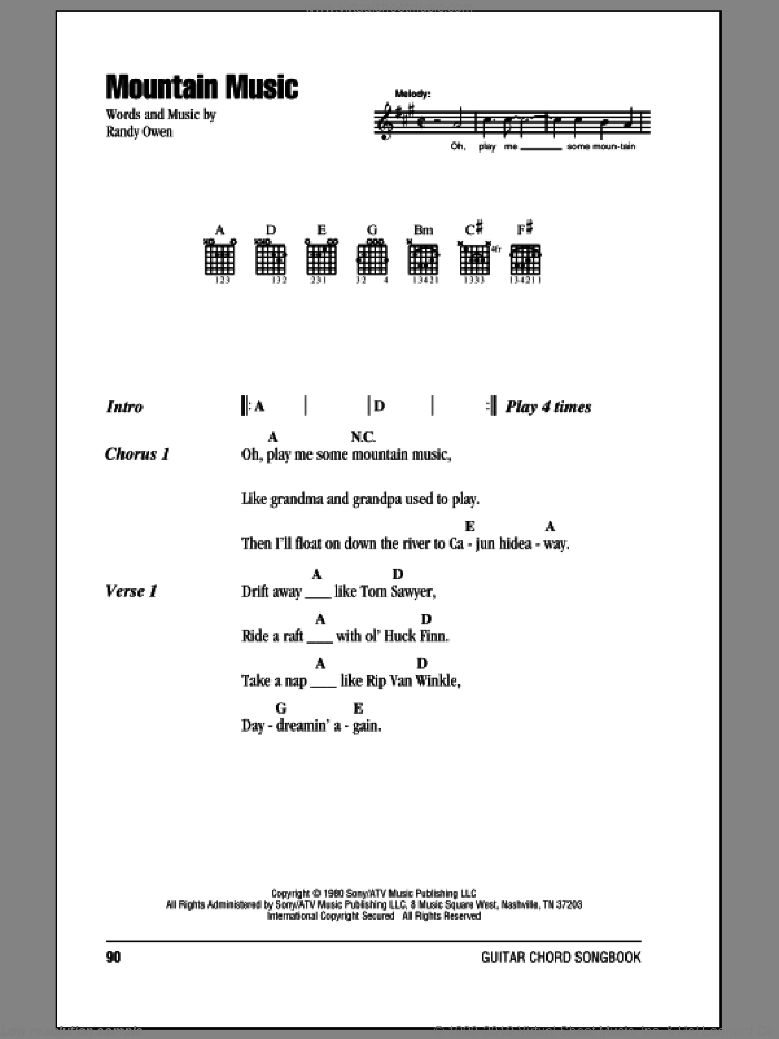 Mountain Music sheet music for guitar (chords) by Randy Owen and Alabama