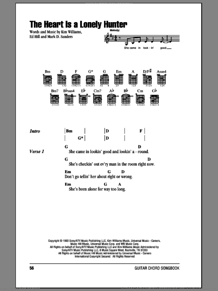 The Heart Is A Lonely Hunter sheet music for guitar (chords) by Reba McEntire, Ed Hill, Kim Williams and Mark D. Sanders, intermediate skill level