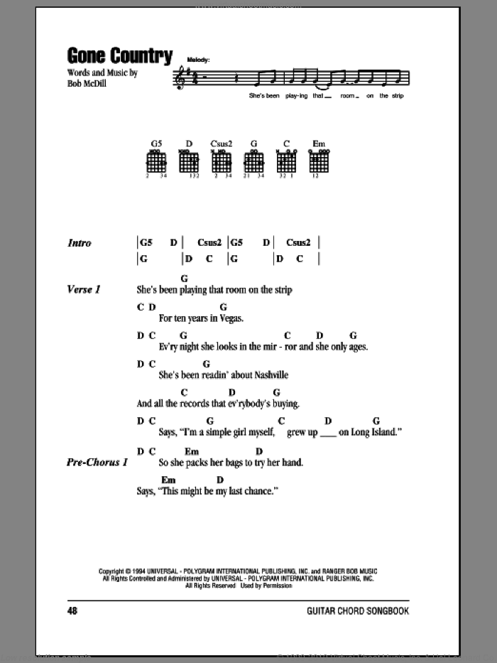 Gone Country sheet music for guitar (chords) by Bob McDill and Alan Jackson. Score Image Preview.