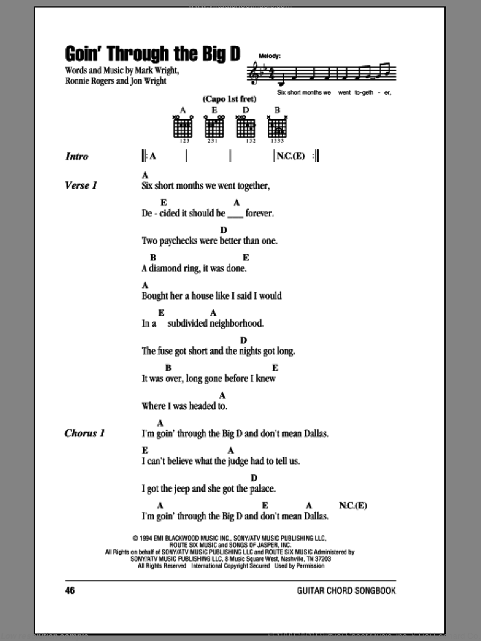Goin' Through The Big D sheet music for guitar (chords) by Mark Chesnutt, intermediate guitar (chords). Score Image Preview.