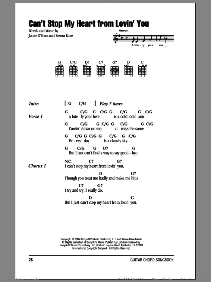 Can't Stop My Heart From Lovin' You sheet music for guitar (chords) by Kieran Kane
