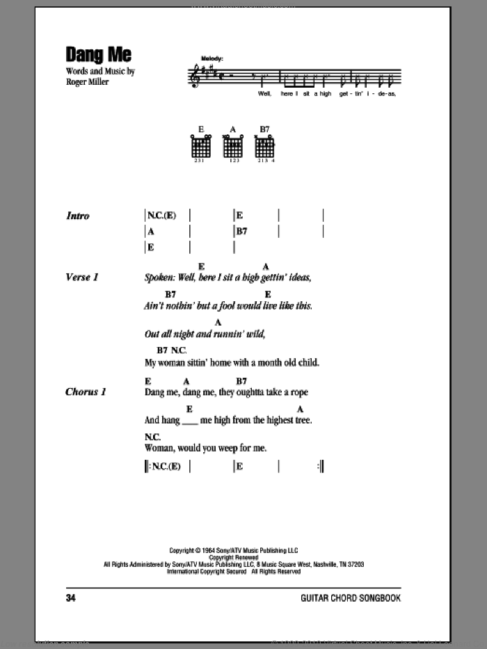 Dang Me sheet music for guitar (chords) by Roger Miller, intermediate. Score Image Preview.