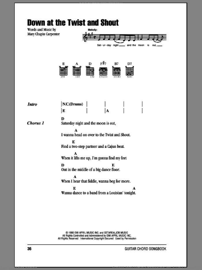 Down At The Twist And Shout sheet music for guitar (chords) by Mary Chapin Carpenter, intermediate. Score Image Preview.