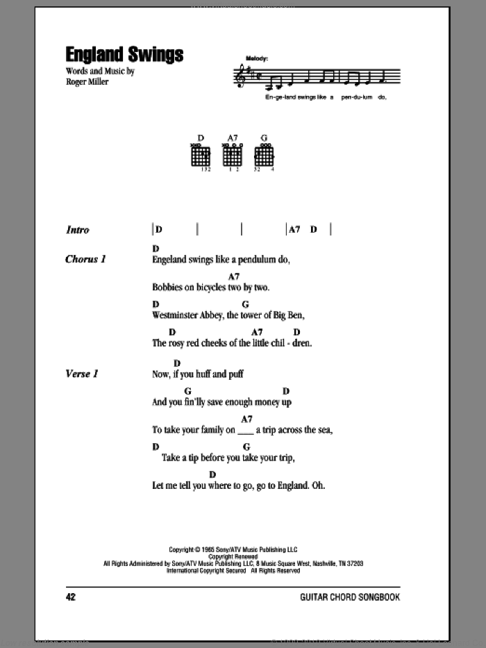 England Swings sheet music for guitar (chords) by Roger Miller. Score Image Preview.