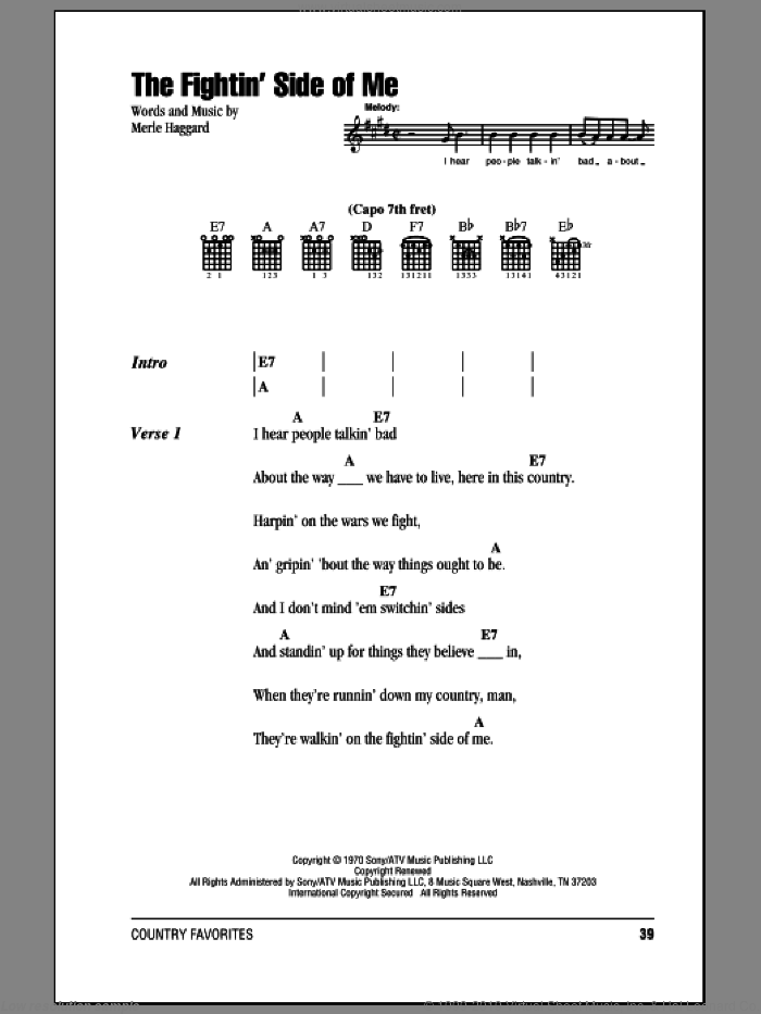 The Fightin' Side Of Me sheet music for guitar (chords) by Merle Haggard, intermediate. Score Image Preview.