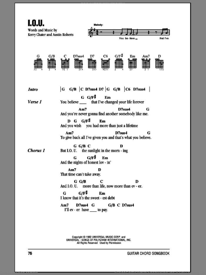 I.O.U. sheet music for guitar (chords) by Kerry Chater and Lee Greenwood. Score Image Preview.