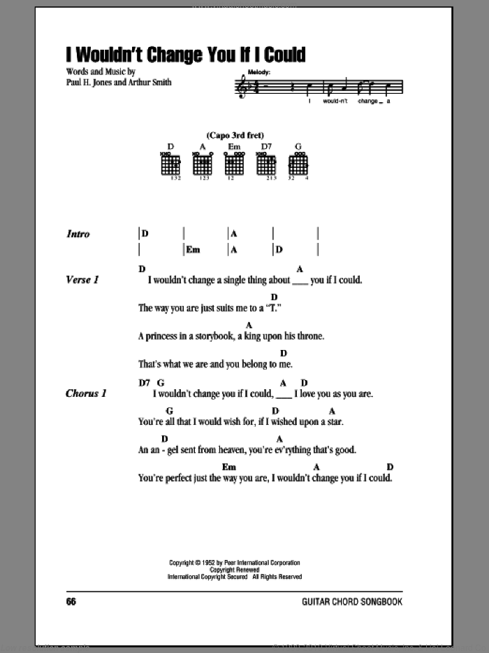 I Wouldn't Change You If I Could sheet music for guitar (chords) by Paul H. Jones, Ricky Skaggs and Arthur Smith. Score Image Preview.