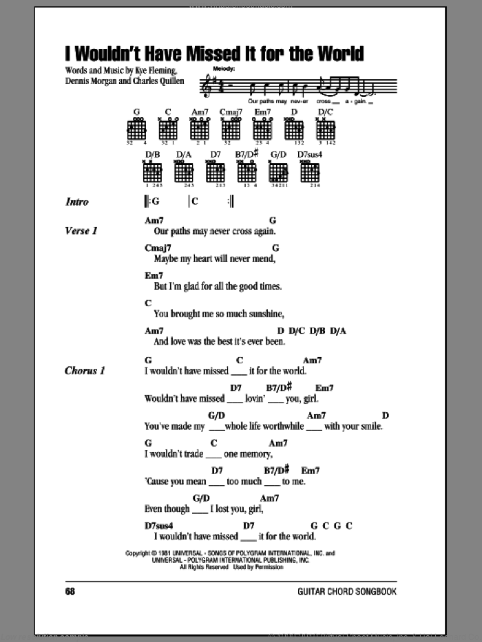 I Wouldn't Have Missed It For The World sheet music for guitar (chords) by Ronnie Milsap, Charles Quillen, Dennis Morgan and Kye Fleming, intermediate. Score Image Preview.