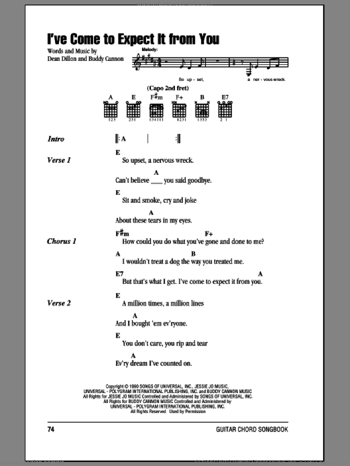 I've Come To Expect It From You sheet music for guitar (chords) by George Strait and Dean Dillon. Score Image Preview.