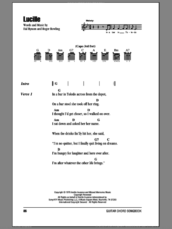 Lucille sheet music for guitar (chords) by Roger Bowling, Kenny Rogers and Hal Bynum. Score Image Preview.