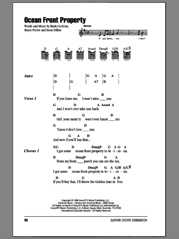 Ocean Front Property sheet music for guitar (chords) by Royce Porter, George Strait, Dean Dillon and Hank Cochran. Score Image Preview.