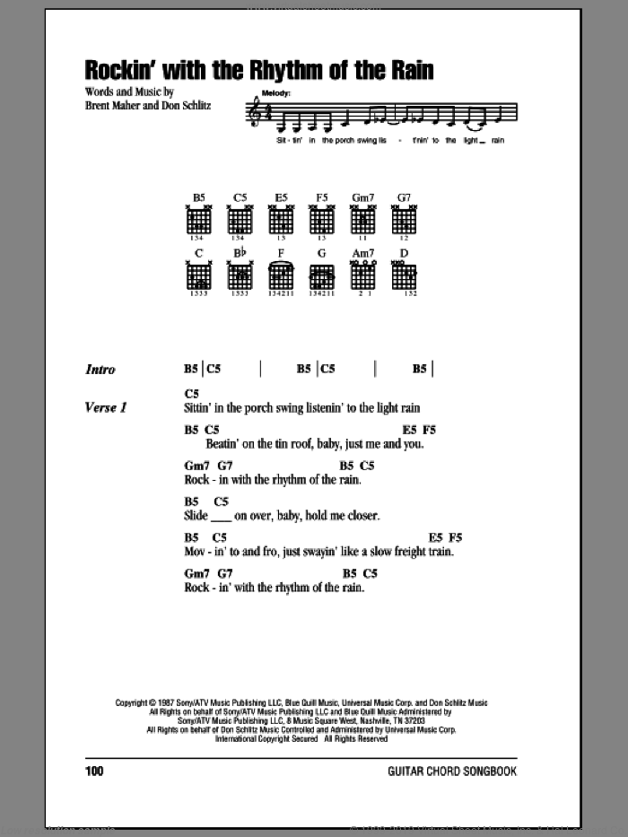 Rockin' With The Rhythm Of The Rain sheet music for guitar (chords, lyrics, melody) by Don Schlitz