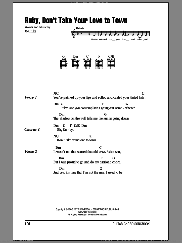 Ruby, Don't Take Your Love To Town sheet music for guitar (chords) by Kenny Rogers, Johnny Darrell and Mel Tillis, intermediate skill level