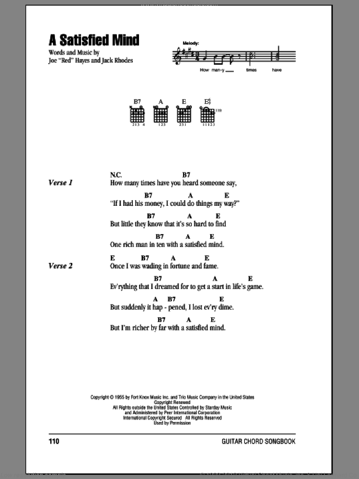 A Satisfied Mind sheet music for guitar (chords) by Jack Rhodes and Porter Wagoner. Score Image Preview.