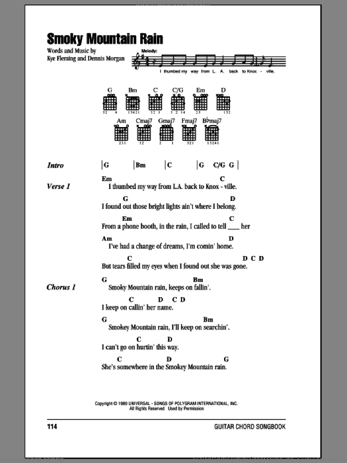 Smoky Mountain Rain sheet music for guitar (chords) by Ronnie Milsap, Dennis Morgan and Kye Fleming, intermediate skill level