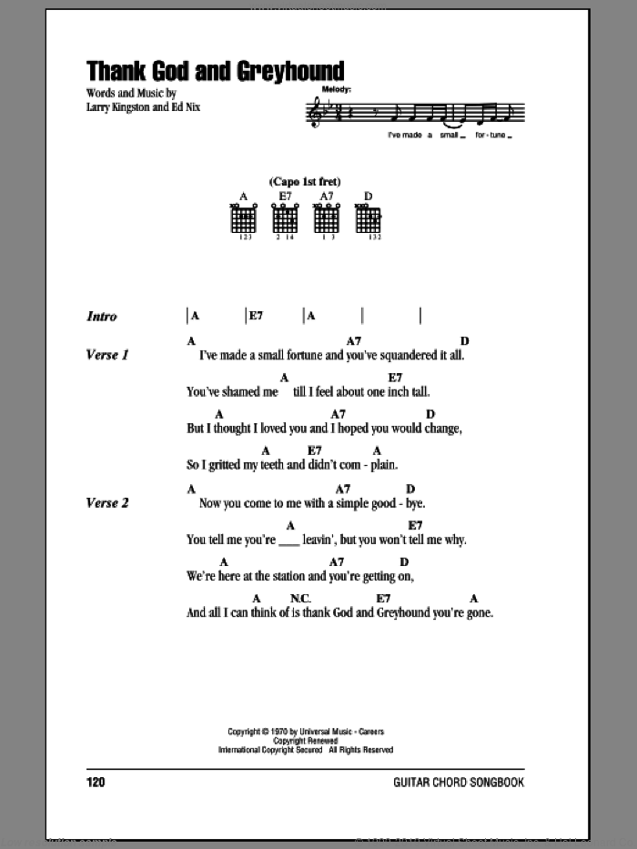 Thank God And Greyhound sheet music for guitar (chords) by Roy Clark, intermediate. Score Image Preview.