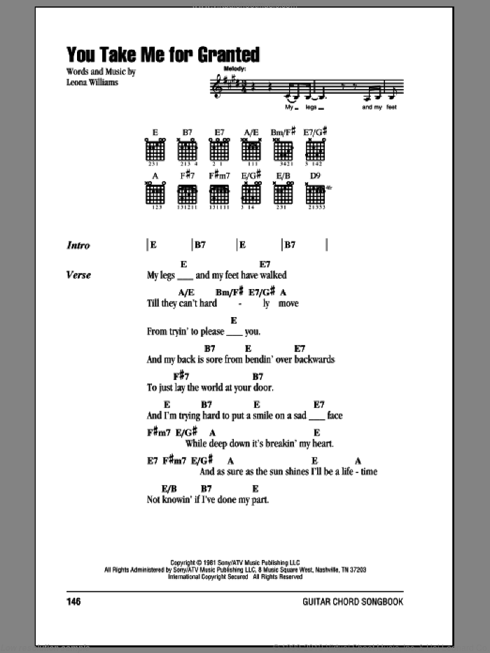 You Take Me For Granted sheet music for guitar solo (chords, lyrics, melody) by Leona Williams