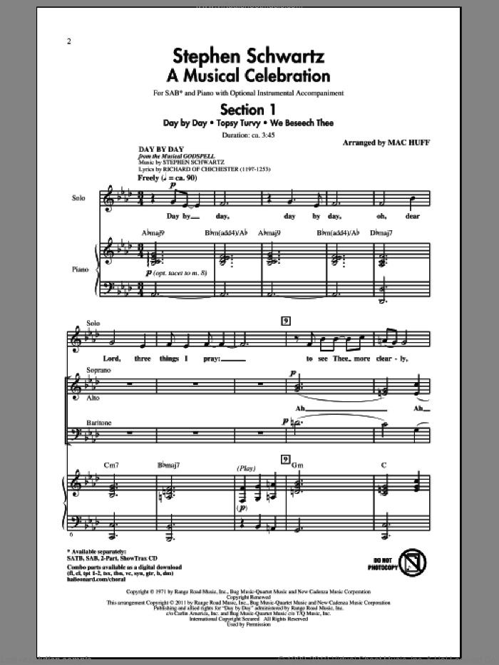 Stephen Schwartz: A Musical Celebration (Medley) sheet music for choir (SAB) by Stephen Schwartz, Jane M. Campbell, Matthias Claudius and Mac Huff, intermediate choir (SAB). Score Image Preview.